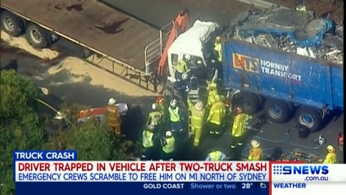 NBN News | TRUCK CRASH CLOSES TWO LANES OF M1 NORTHBOUND