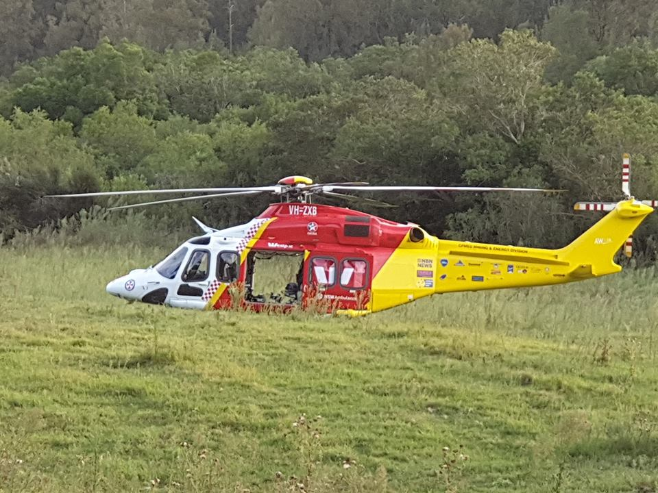 The injured man was flown to Newcastle's John Hunter Hospital in a stable condition.