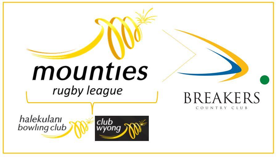 mounties logo, with three other club logos